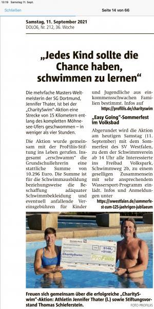 """10.296,- Euro für Schwimmkurse """"erschwommen"""""""