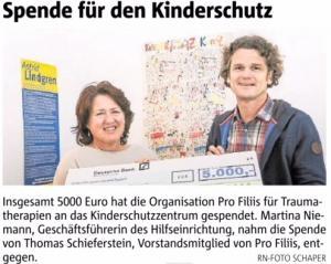 ProFiliis unterstützt Kinderschutzzentrum