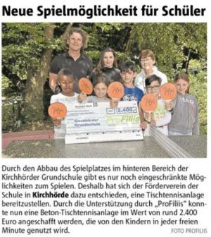 Kirchhörder Grundschule bekommt neue Tischtennisplatte